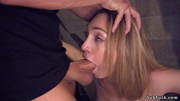 Brunette after blind date in bondage