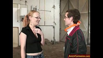 Young dutch teen model Dutch teen with glasses in warehouse