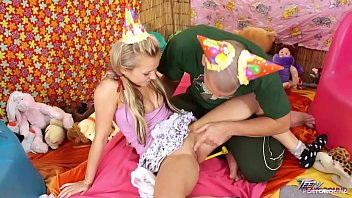 Teenyplayground Bella Baby celebrate her 18th birthday with older man in bed thumbnail
