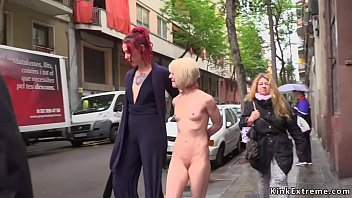 Petite blonde pussy fisted in public