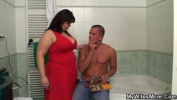 She finds him with  her huge titted mom