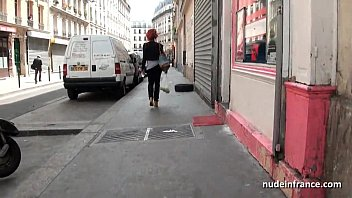 Busty french black whore catched up in the street fucked hard with cum on tits