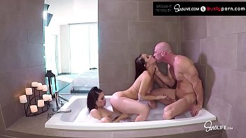 FFM Two Teens Get Fucked In The Bathtub By Huge Dick