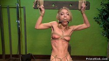 Slim blonde is anal toyed in hogtie porno izle