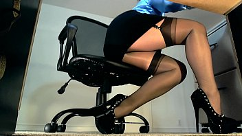 Secretary upskirt and nylon secretaries - Sexy underdesk tease showing stockings over nylons
