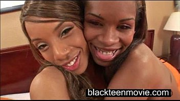 Two black teen cuties in a threesome in Black Ebony Porn Video