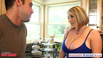 Green and white striped pajamas - Voluptuous blonde mom maggie green gives titjob