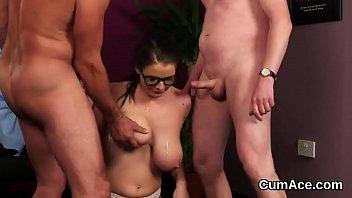 Cum-shot bukkake Foxy model gets sperm shot on her face swallowing all the love juice