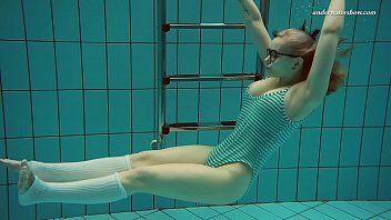 Dasha submerged underwater