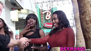 Cute black college babes have fun with their fuck buddy