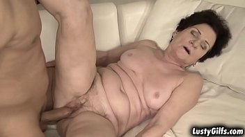 Hot stud Mugur is waiting for her sugar momma Lisbeth and surprised him with her wet vintage pussy.