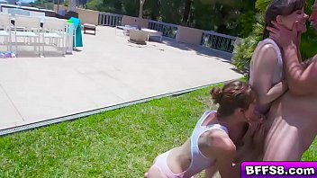 Sexy teens Alison Rey Leah Winters and Emma Hix are in the mood to get wet and wild