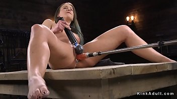 Brunette cums on fucking machine preview image
