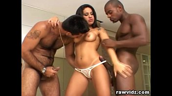 Hung latin anal Fiesty latina gets two big black cocks in her ass