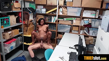 Clueless shoplifter caught and gets punish fucked hard