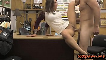 Sexy tattooed babe nailed by pawn man in the backroom