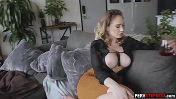 Horny busty MILF stepmom takes a care about sad stepson