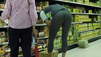 Gay lycra bogs Wearing see thru leggings in supermarket