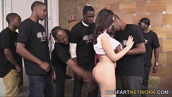 Valentina Nappi Orally Pleases A Bunch Of Black Cocks