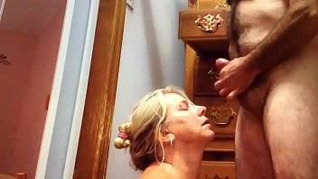 Stranger cums on wife's face.