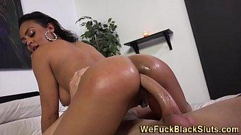 Ass fuck black cum spray