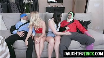 Teen Daughters suck their old fathers dry
