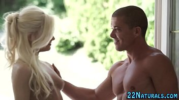 Blonde babe rubbing pussy