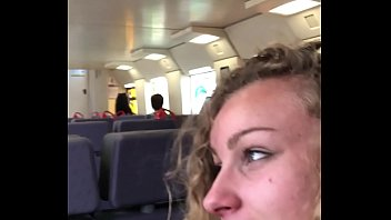 Angel Emily public blowjob in the train and cumswallowing !!