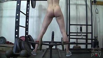 Redhead Female Bodybuilder Masturbates with Gym Equipment thumbnail