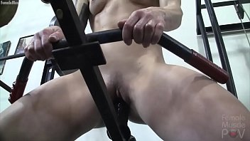 Exotic female muscle pussy Redhead female bodybuilder masturbates with gym equipment