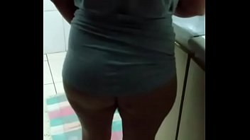 Hot showing off in the kitchen
