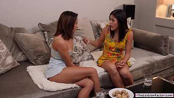 Asian babe feeds her friend with pussy
