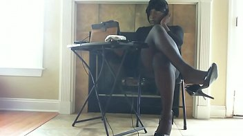 Black shemales model - Pantyhose and heels leg, foot, ass and cock tease