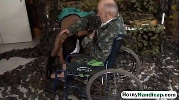 Wheelchair sexy - Crippled old guy fucks sexy young brunette nurseock-hi