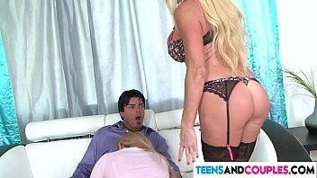 Teen gal gets seduced by horny couple