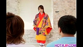 Miina is undressed of kimono and well fucked