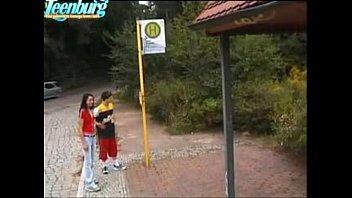 Guy fucks teen girl on bus stop