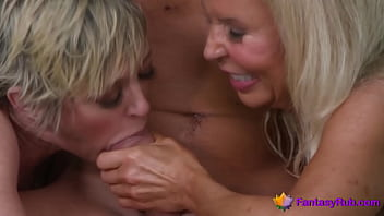 Teen and stepmom sharing one dick