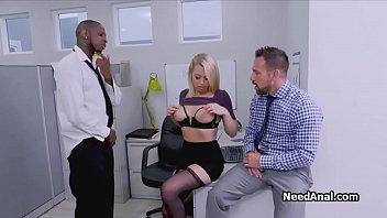 Secretary in interracial threesome office rimming