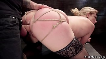 Blonde in stockings gets anal bondage