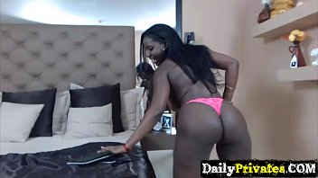 Voluptuous busty ebony teen Valerie Owens double penetrates holes