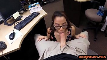 Slutty coed drilled by nasty pawn keeper in his office