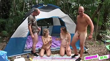 Daughters Cum Swapping Outdoors