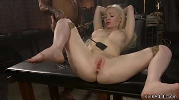 Fake big tits blonde banged in bondage