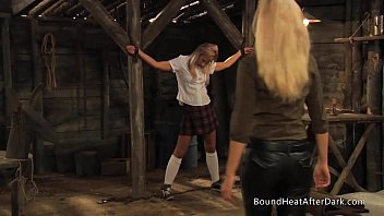 Schoolgirl In Chains Inspected And Groped By Horny Madame