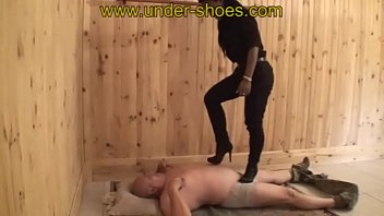 Ball cock foot trample Miss julia extreme high heels boots cruelty
