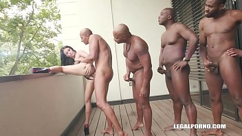 Young Cutie Nelly Kent takes on 4 huge black cocks and gets fucked in the ass balls deep