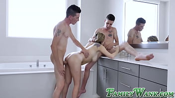 19yo cutie Sarah Bella double teamed by twin stepbrothers