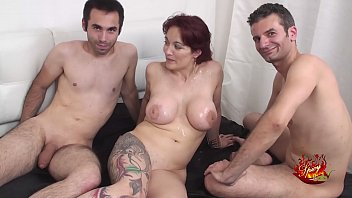 Two hard cocks for an italian big titts milf with Mary