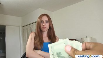 Amateur redhead teen cheating on her boyfriend for money